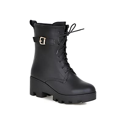 Women's Round Closed Toe Low Top Kitten-Heels Solid PU Boots
