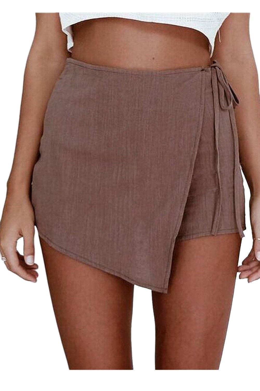 Women's Elegant Flax Hemp Side Strap Skirt Short Pants Culotte CATNXSO13