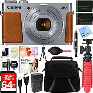 "Canon PowerShot G9 X Mark II 1"" 20.1MP 4x Zoom Silver Digital Camera + Two-Pack NB-13L Spare Batteries + Accessory Bundle"
