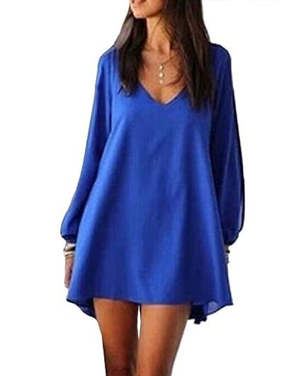 Minetom Mujer Casual Vestido De Verano V-Cuello Vestido De Fiesta Moda Playa Vestido Azul