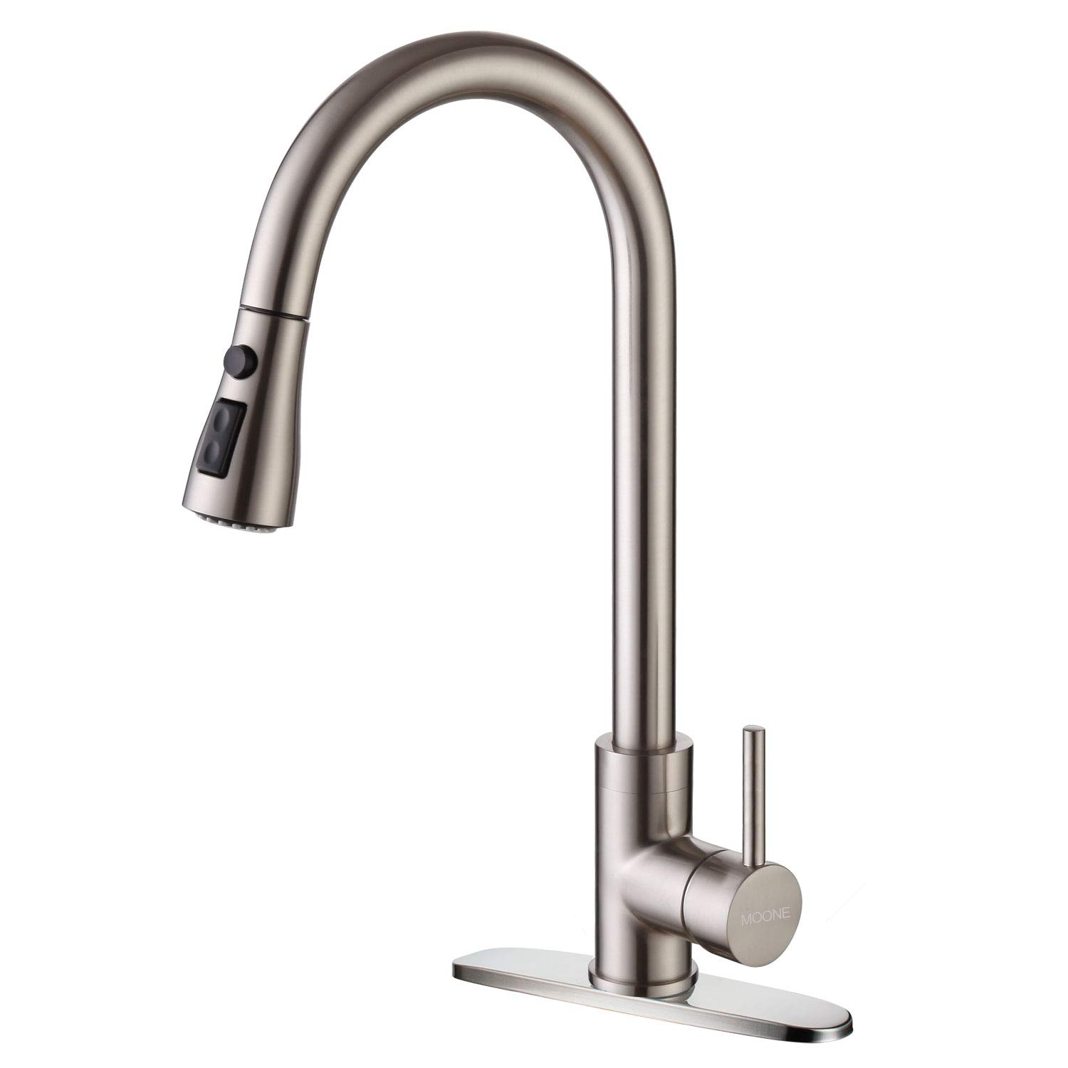 Moone Commercial Single Handle Kitchen Faucet Pull Down Sprayer Brass Body Pull Out Spray Kitchen Sink Faucets Stainless Steel Brushed Nickel