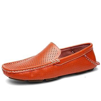 Jingkeke Mocasines de conducción Slip-on para Hombre Mocasines Huecos Vamp Flat Soft Sole Mocasines Zapatos para Barcos Durable (Color : Orange, ...
