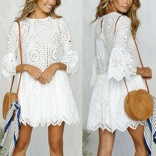 iTLOTL Womens Flowers Lace Short Sleeve Round neck Party Dress Vintage Lace Dress(US:8/CN:M, White) by iTLOTL (Image #1)