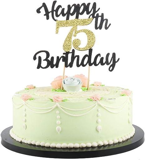 Pleasing Amazon Com Lveud Happy Birthday Cake Topper Black Font Golden Funny Birthday Cards Online Alyptdamsfinfo