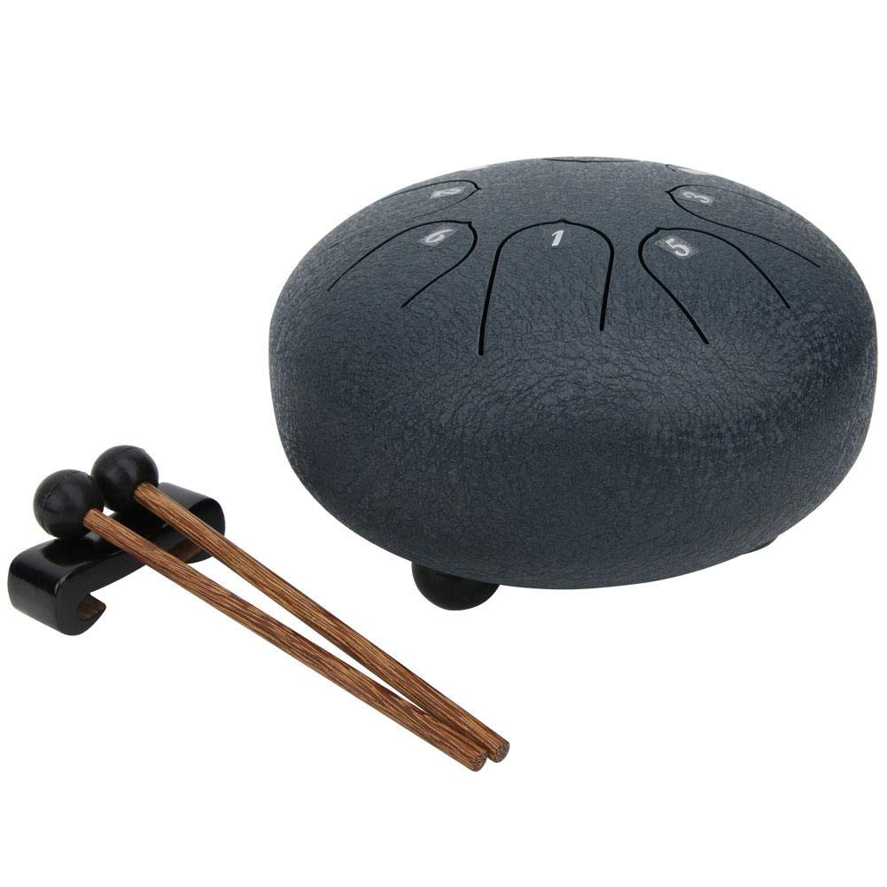 8 tons 10 pouces tambour tambour C Main Main R/éservoir tambour de langue avec tampon en caoutchouc avec sac de rangement Noir Mini tambour de langue en acier