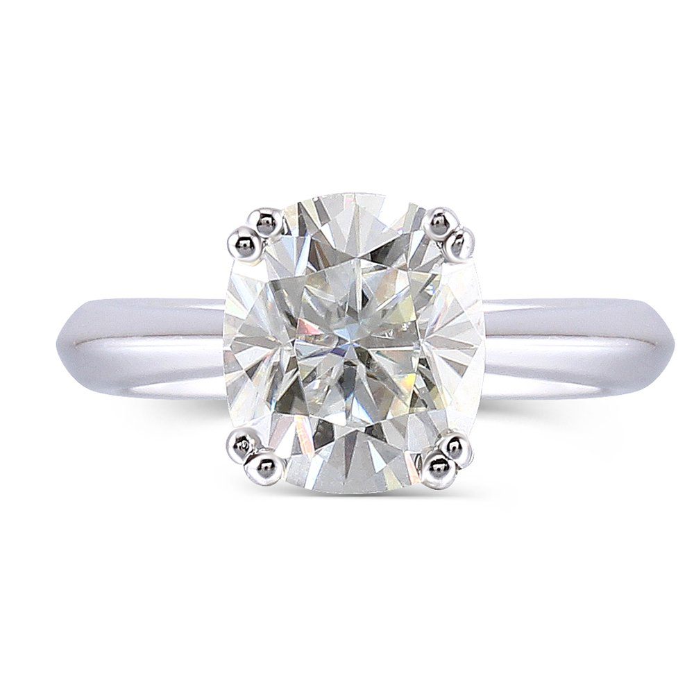 2ct 7X8mm HI Color 2.8mm Band Width Cushion Cut Moissanite Engagement Solitaire Ring for Women Platinum Plated Silver (5.5)