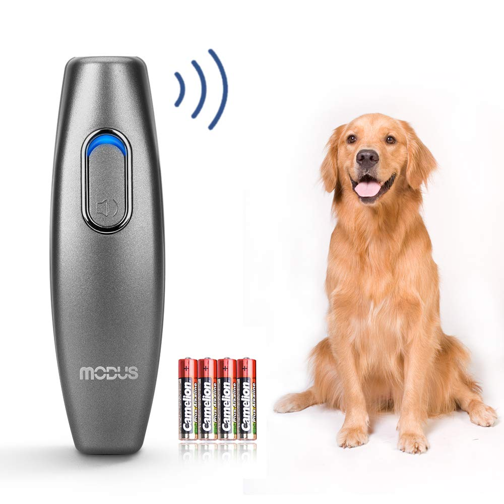 Modus Bark Control Device - Ultrasonic Dog Bark Deterrent, 2 in 1 Dog Behavior Training Tool of 16.4 Ft Effective Control Range, 100% Safe to use, with LED Indicator/Wrist Strap Outdoor Indoor by Modus