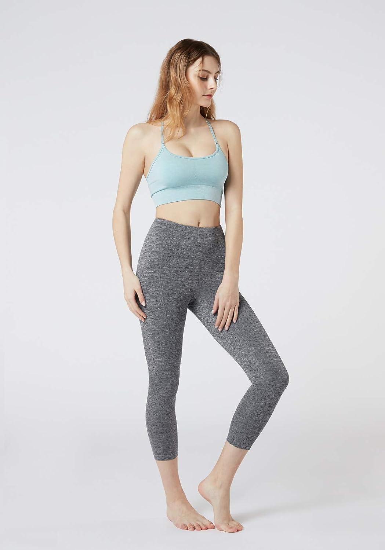 TSLA Damen 21 inches Capri Leggings Hoher Taille mit Taschen Yoga Fitness Hosen
