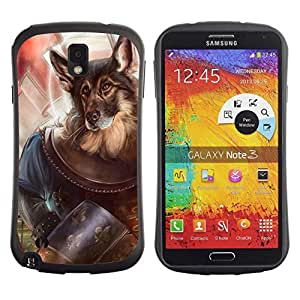 Hybrid Anti-Shock Bumper Case for Samsung Galaxy Note 3 / Dog Knight German Shepard