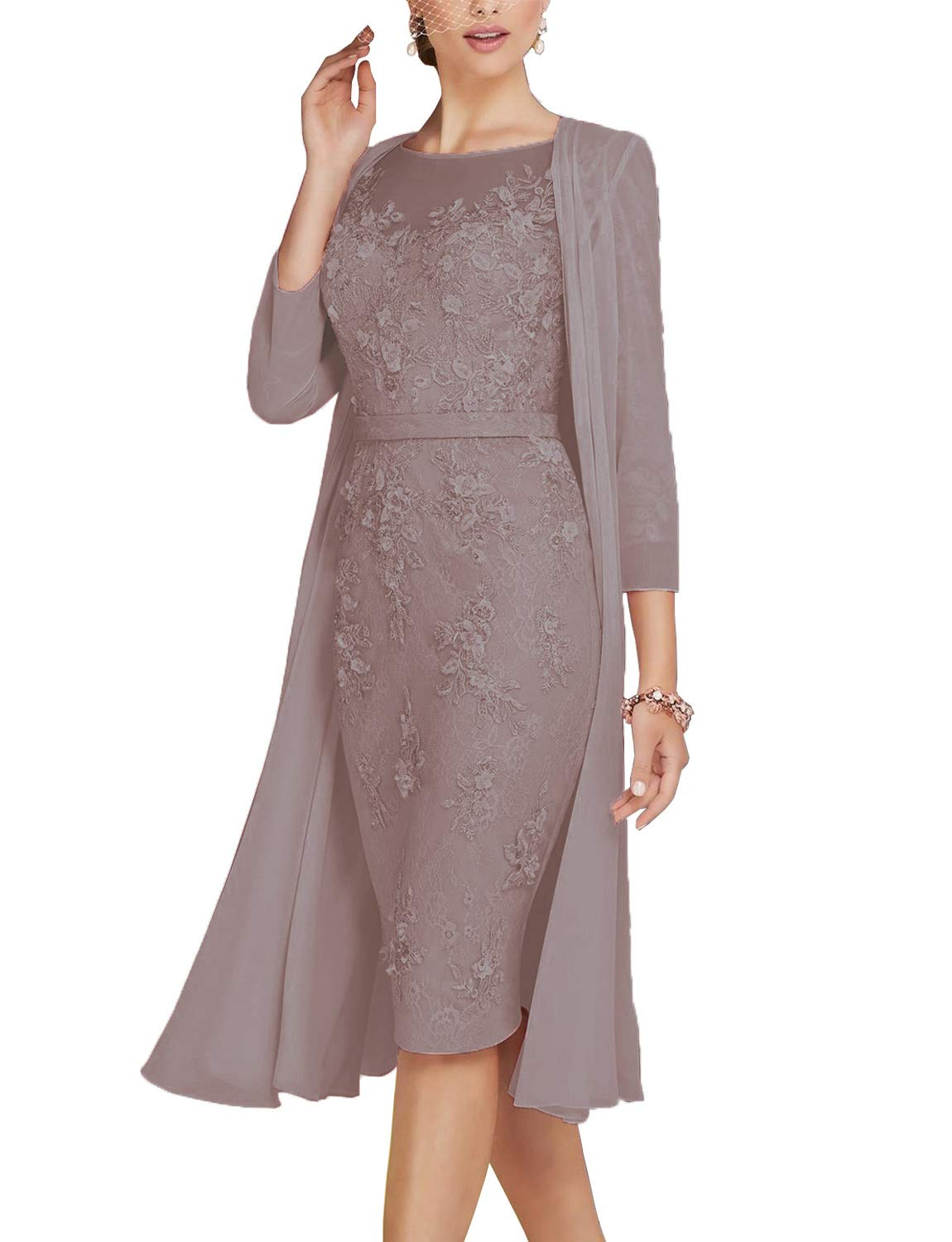 e674abfb03 Newdeve Lace Mother of The Bride Dresses Tea Length Sheath 3 4 Sleeves with  Chiffon Jacket Silver Grey