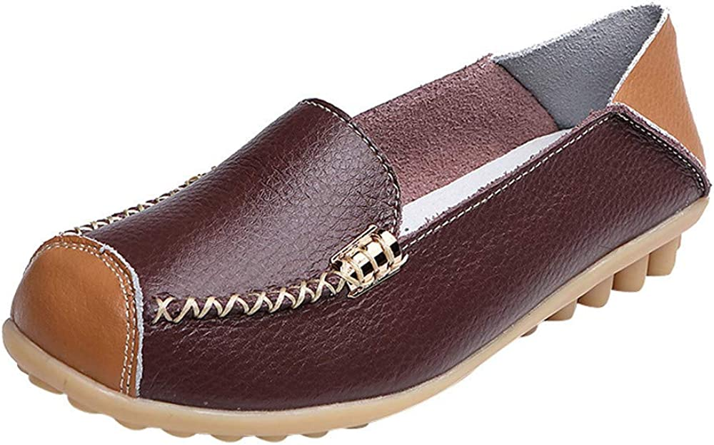 Hotkey Women/'s Leather Loafers Breathable Slip on Driving Shoes Casual Comfort Walking Flat Shoes Outdoor Peas Boat Shoes