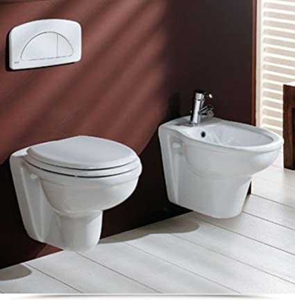 Sanitari per Bagno Vaso WC e Bidet Sospesi Ceramica Moderni bianco ...