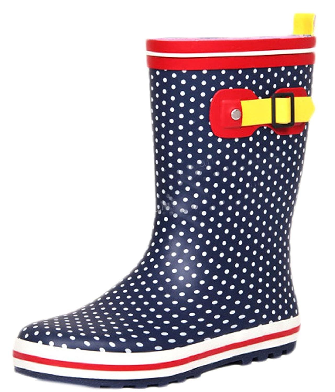 Ace Women's Polka Cute Waterproof Anti-skid Pull-on Work Boots Rain Boot