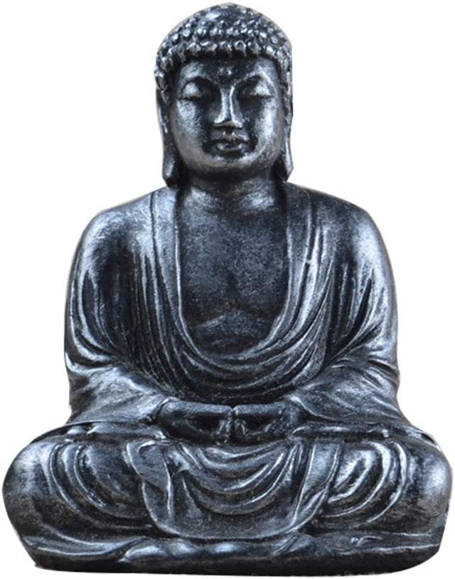 YOEDAF Mini Buddha Statue, Mini Zen Sitting Meditation Buddha Resin Figurine Ornament Sculpture Indoor Home Outdoor Garden Decor(Silver)