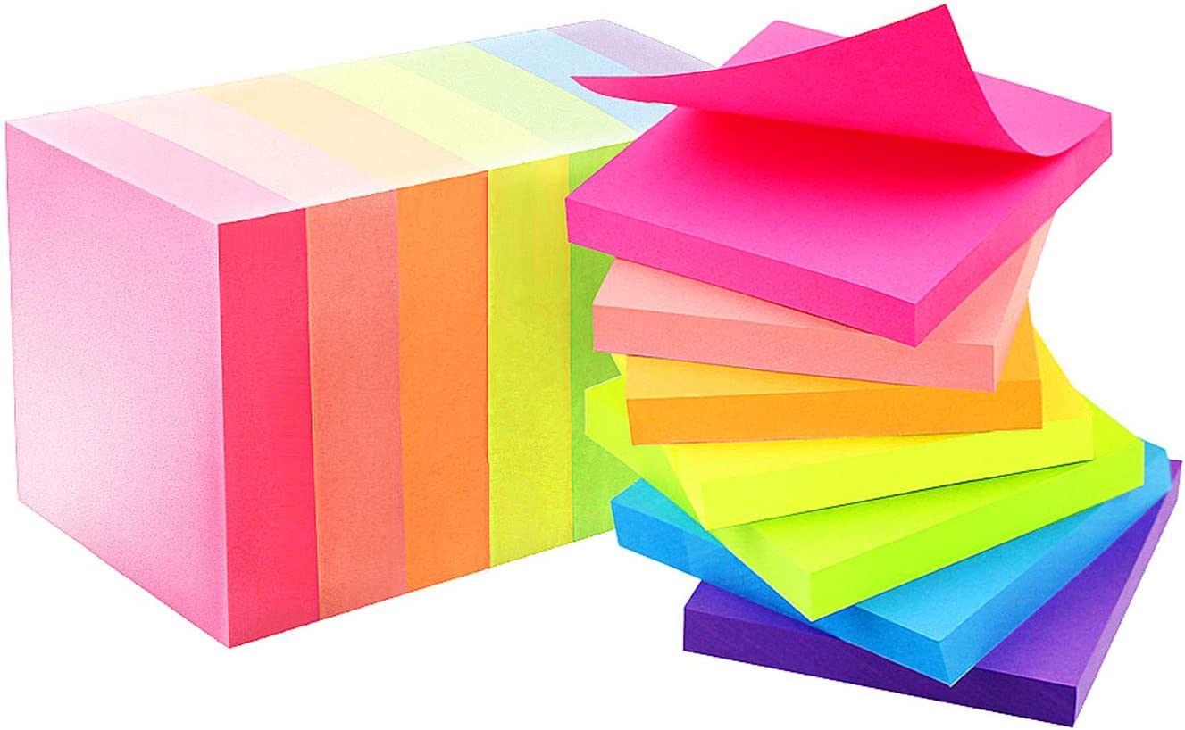 Early Buy 7 Bright Color 14 Pads Sticky Notes Self-Stick Notes 3 in x 3 in 80 Sheets/Pad : Office Products