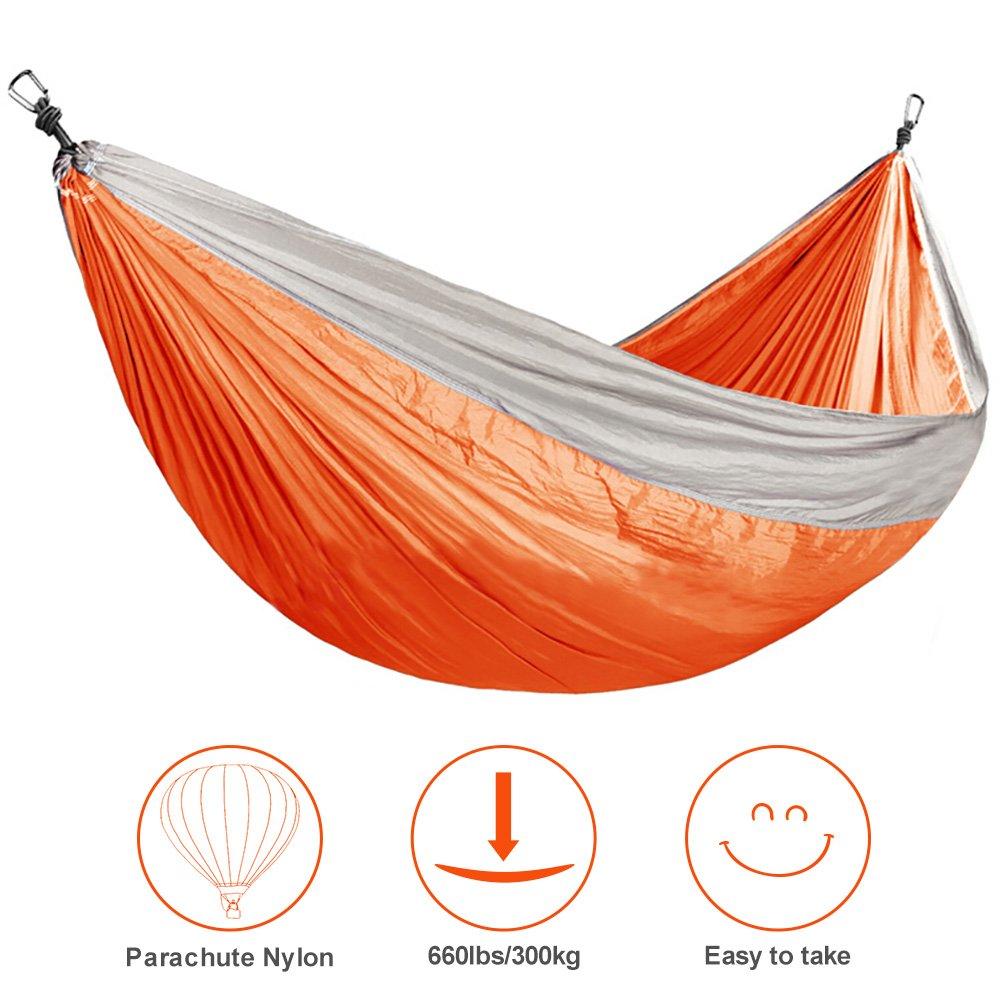 BuySevenSide Camping Hammock Garden Hammock For 660lbs, Ultralight Portable Nylon Parachute Double Hammock for Backpacking, Travel, Beach, Yard (orange)