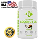 Extra Virgin 2000mg Organic Cold Pressed Coconut Oil Supplement By Kenko Bio - Capsules That Support Weight Loss, Hair Growth & Skin Health - GMO, Gluten & Dairy Free Source Of MCFA MCT- 100 Softgels