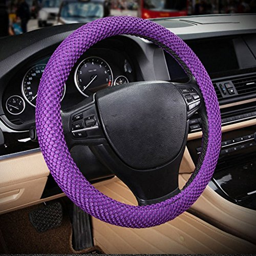 Raysell Odorless Standard Size Breathable Car Steering Wheel Cover -No More Sweat Hands 38cm 15 (Purple)