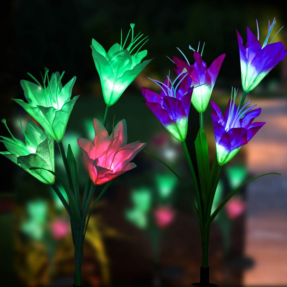 Outdoor Solar Garden Stake Flower Lights,Mopoin 2 Pack 8 Lily Flower Solar Powered Lights,Multi-Color Changing LED Decorative Lights for Garden, Lawn, Patio, Backyard (Purple and White)