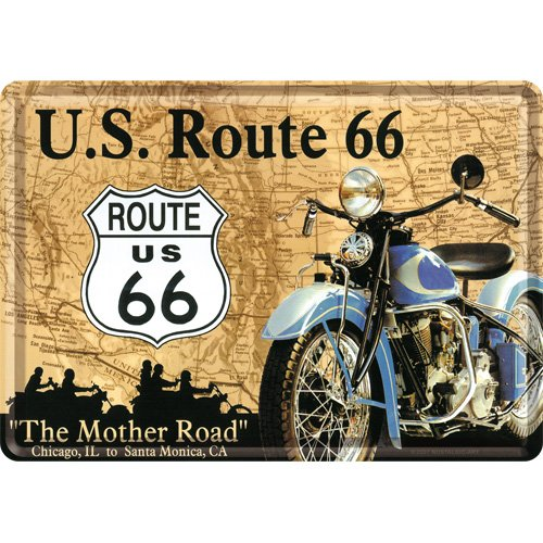 Nostalgic-Art Merchandising 16323 autoroutes US Route 66 Map Blechpostkarte 10 x 14 CM