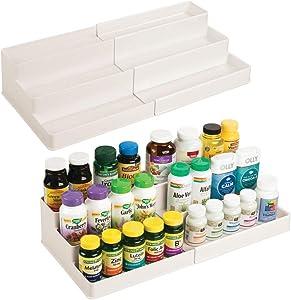 mDesign Adjustable, Expandable Plastic Vitamin Rack Storage Organizer Tray for Bathroom Vanity, Countertop, Cabinet - 3 Shelves - Holds Supplements, Medication, 2 Pack - Cream/Beige
