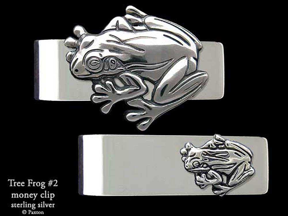 Tree Frog #2 Money Clip in Solid Sterling Silver Hand Carved, Cast & Fabricated by Paxton