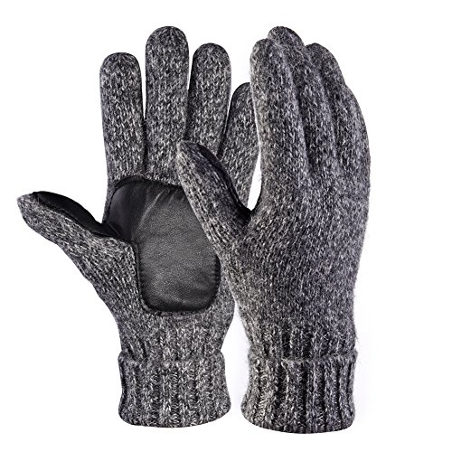 Vbiger Winter Gloves Knit Mittens Windproof Full-finger Warm Gloves in Grey For Men