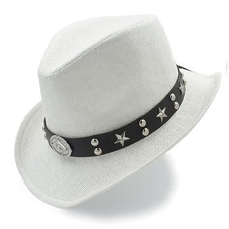 BAOJU Home Sombrero - Mujer Hombre Sombrero de Paja Sombrero de Vaquero Occidental  Sombreros Playa Sombrero acb3d696877