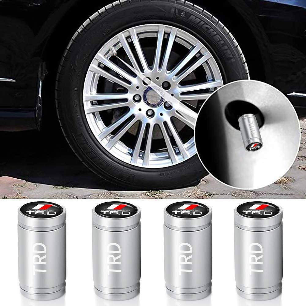 N//O 4 Pcs Metal Car Wheel Tire Valve Stem Caps for Toyota TRD with a Keychain Styling Decoration Accessories