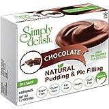 Simply delish Natural Pudding Dessert, Sugar free, 0.3 oz., 6-pack – Fat Free, Gluten Free, Lactose Free, Non GMO, Kosher, Halal, Dairy Free, Natural (Chocolate)