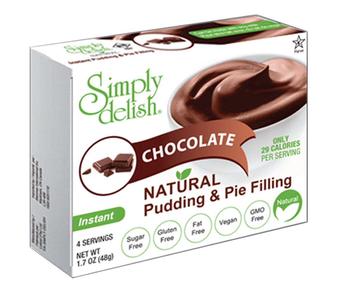 Simply delish Natural Chocolate Pudding Dessert, Sugar free, 1.7 oz., 24-6 packs – Fat Free, Gluten Free, Lactose Free, Non GMO, Kosher, Halal, Dairy Free, Natural by Simply Delish