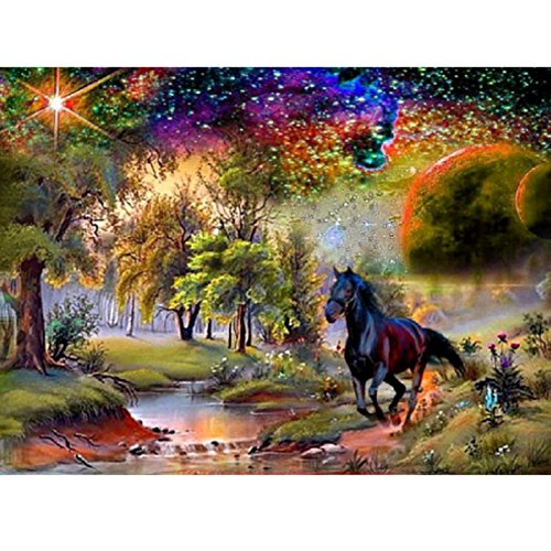 Diamond Horse (Adarl 5D DIY Diamond Painting Rhinestone Horse Stream Pictures Of Crystals Diamond Dotz Kits Arts, Crafts & Sewing Cross Stitch)