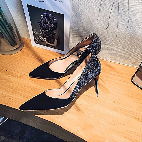 Autumn Stylish Shoes Black Tip Ladies New With High Fine A The And HXVU56546 Heels Charming Shiny Single qFPwEU