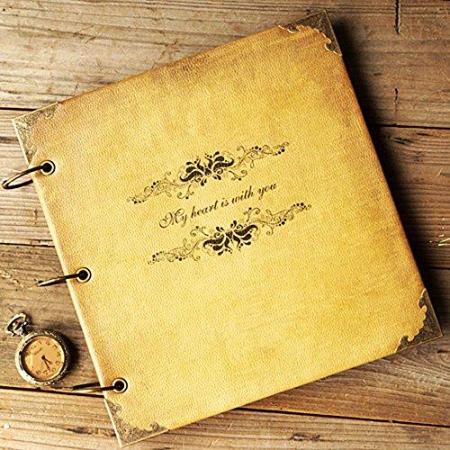 "ToiM New DIY Album Wedding Scrapbook Vintage Photo Album Leatherette Cover DIY Retro and Elegant Handmade Album Self-paste Album (""My Heart is with you"")"
