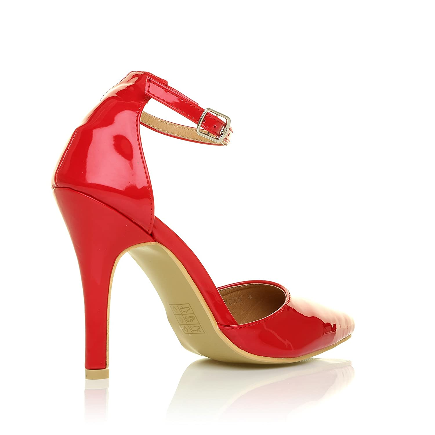 New York Red Patent Ankle Strap Pointed High Heel Court Shoes:  Amazon.co.uk: Shoes & Bags