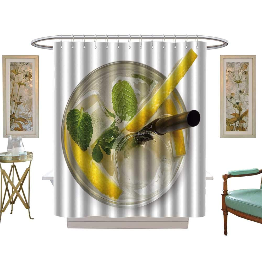 luvoluxhome Shower Curtains Fabric soda Drink with Lemon Slices and Mint Isolated Fabric Bathroom Decor Set with Hooks W69 x L75