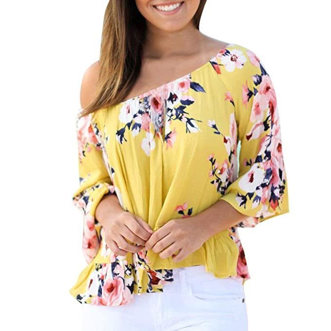 3285dad884f186 Kingwo Women Ruffles Off Shoulder Blouse