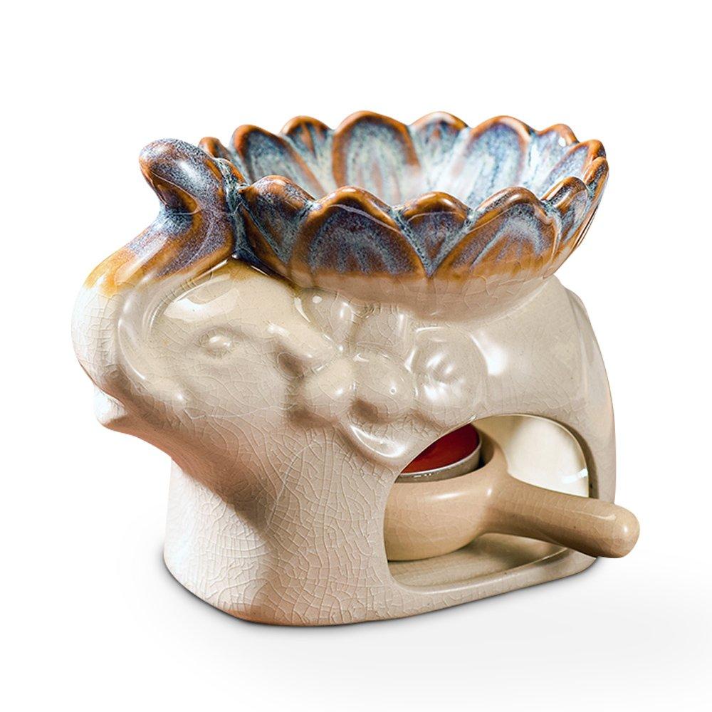 DoDola Ceramic Elephant Essential Oil Burner Aromatherapy Diffusers Tea Light Holder for Amora, Spa, Yoga, Meditation, Zen - Beige