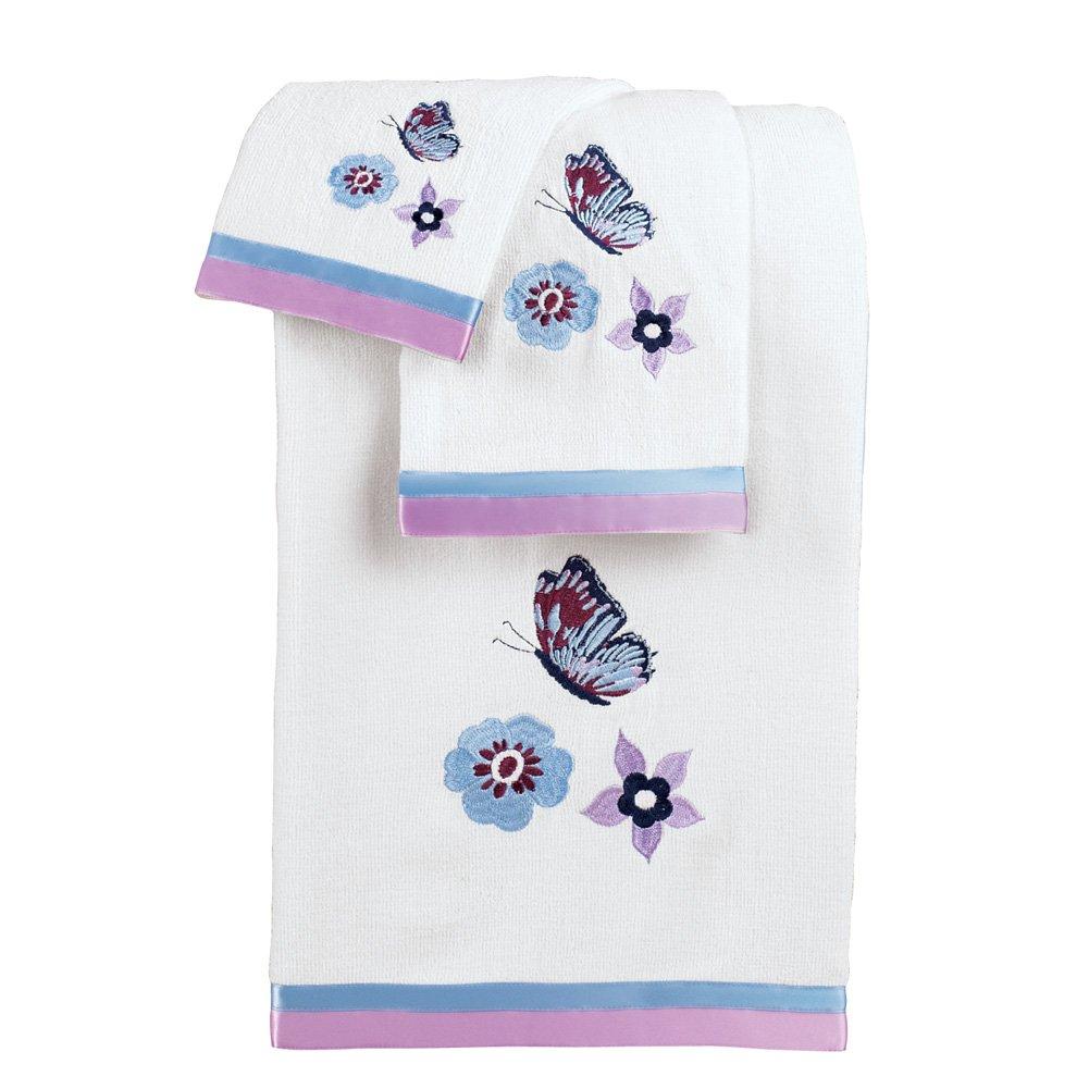 Collections Etc Lavender and Blue Floral Butterflies 3 Piece Towel Set, White