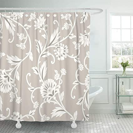 Emvency Shower Curtain Scroll Floral Rustic Abstract Baroque Beautiful Beauty Curtains Sets With Hooks 72