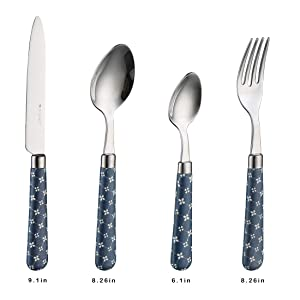 Tohlar Flatware Set 4-piece Silverware Cutlery Set,Stainless Steel Utensils With Blue Retro Handle,Mirror Finished, Dishwasher Safe.