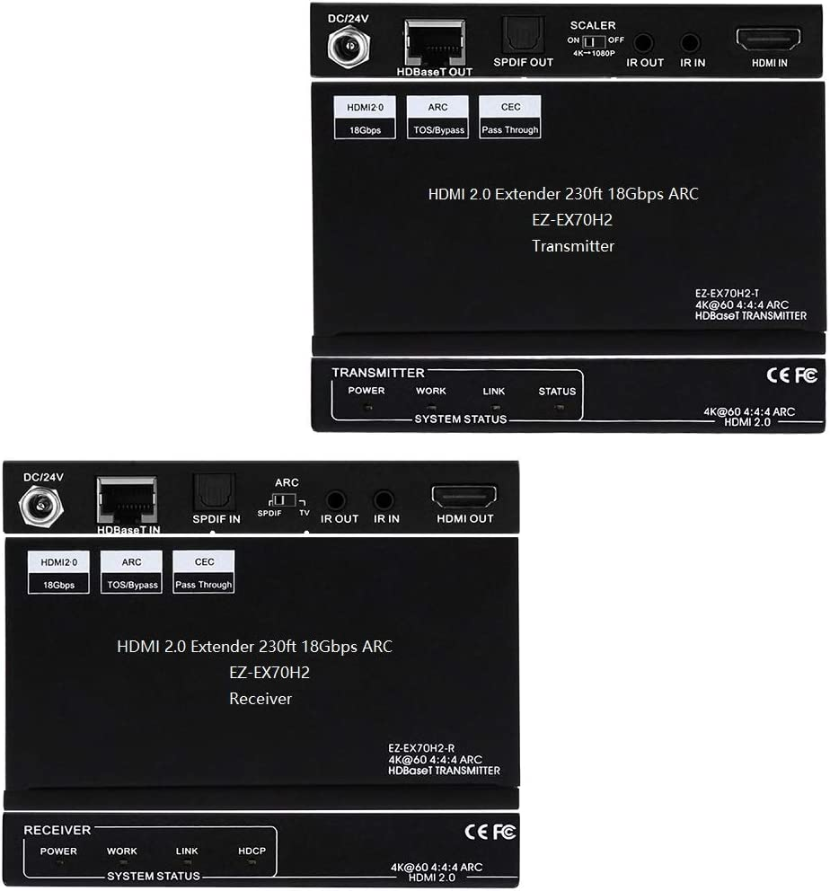 4:4:4 8bit Bi-Directional PoE IR CEC HDR10 by Cat5e Cat6 with SPDIF Audio Breakout HDMI 2.0 Extender ARC 4K 60Hz Dolby Atmos,DTS:X,HDMI Scaler,Slim Mini Case EX70H2 230ft 1080P,130ft 4K HDCP2.2
