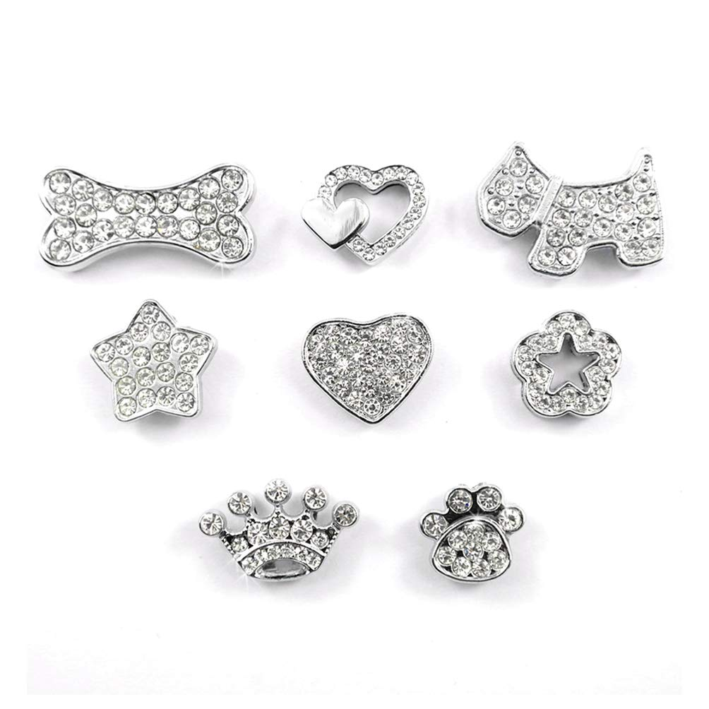 Kuntrona (50pcs/lot) Mixed Fashion Colorful 10MM Rhinestone Personalized Dog Pet Cat Collar Charms White S by Kuntrona