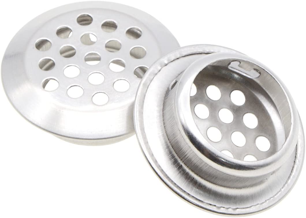 Saim Stainless Steel Air Vent Louver Garderobe Cupboards 24 Pcs 35mm Bottom Diameter Slope Round Perforated Mesh Cabine Cupboard Hole Air Vent Cover Louver for Kitchen