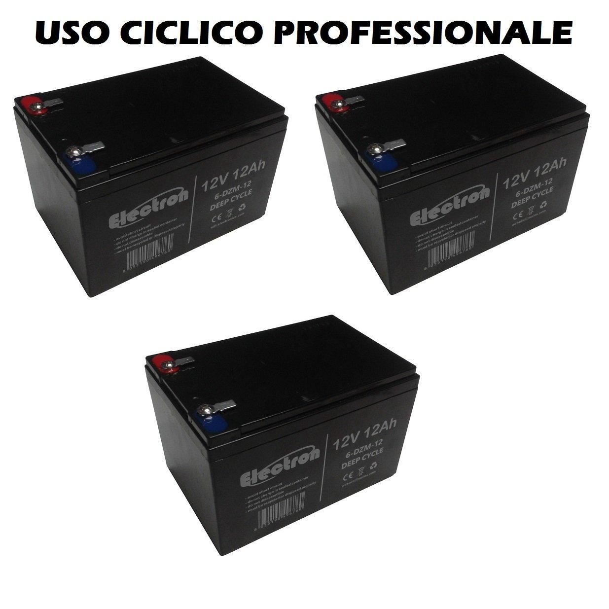 Kit 3 baterías de plomo recargable 12 V 36 V 12 Ah Ciclica ...