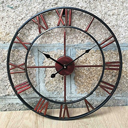 Large 47CM Classic Vintage Cast Iron Wrought Garden Wall Mounted Clock (Outdoor Wall Mounted Clock)