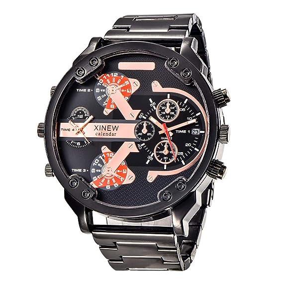 HWCOO Relojes Deportivos Marca de Lujo XINEW Relojes Hombre Full Steel Big Watch (Color :