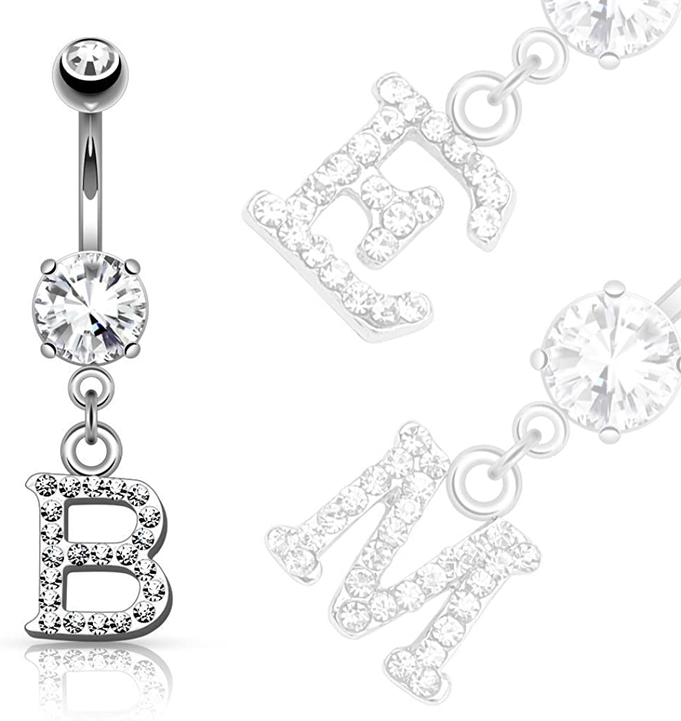 """Custom Your Name Belly Ring Navel Piercings CZ Gem Personalized 14ga 3//8/"""" Curve"""