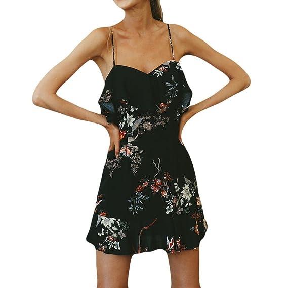Verano ImpresióN Bohemia OscilacióN con Estampado Floral Volante Dobladillo Casual Mini Vestido Fiesta Vestido Playa Estampado