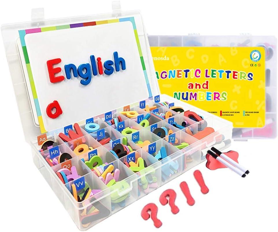 Wenosda 220pcs Letras y Nnúmeros Magnéticos para niños, Kit de Juguetes de imanes Letras del Alfabeto imán Juguetes +símbolos + Pizarra + bolígrafos + Borrador para niños pequeños